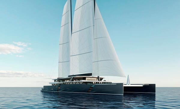 sea voyager 223 concept catamaran front view with sails up