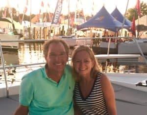 donavan lane and mary beth geraci are happy yacht buyers having used advice from catamaran guru
