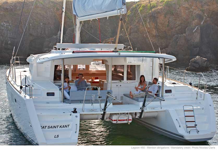 lagoon 450 anchored