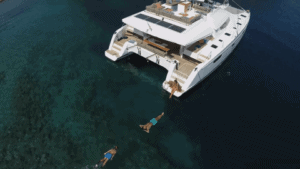 relax in water on your crewed yacht charter