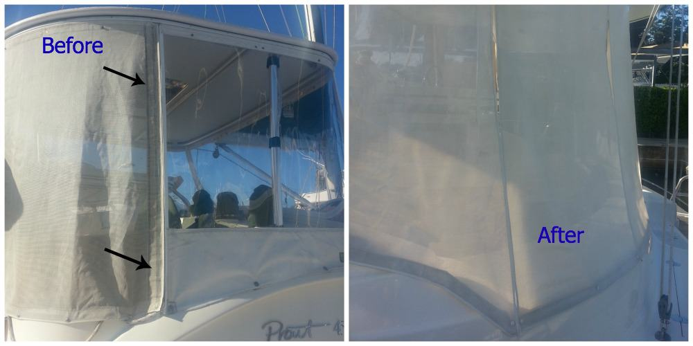 cleaning textile shades for catamarans