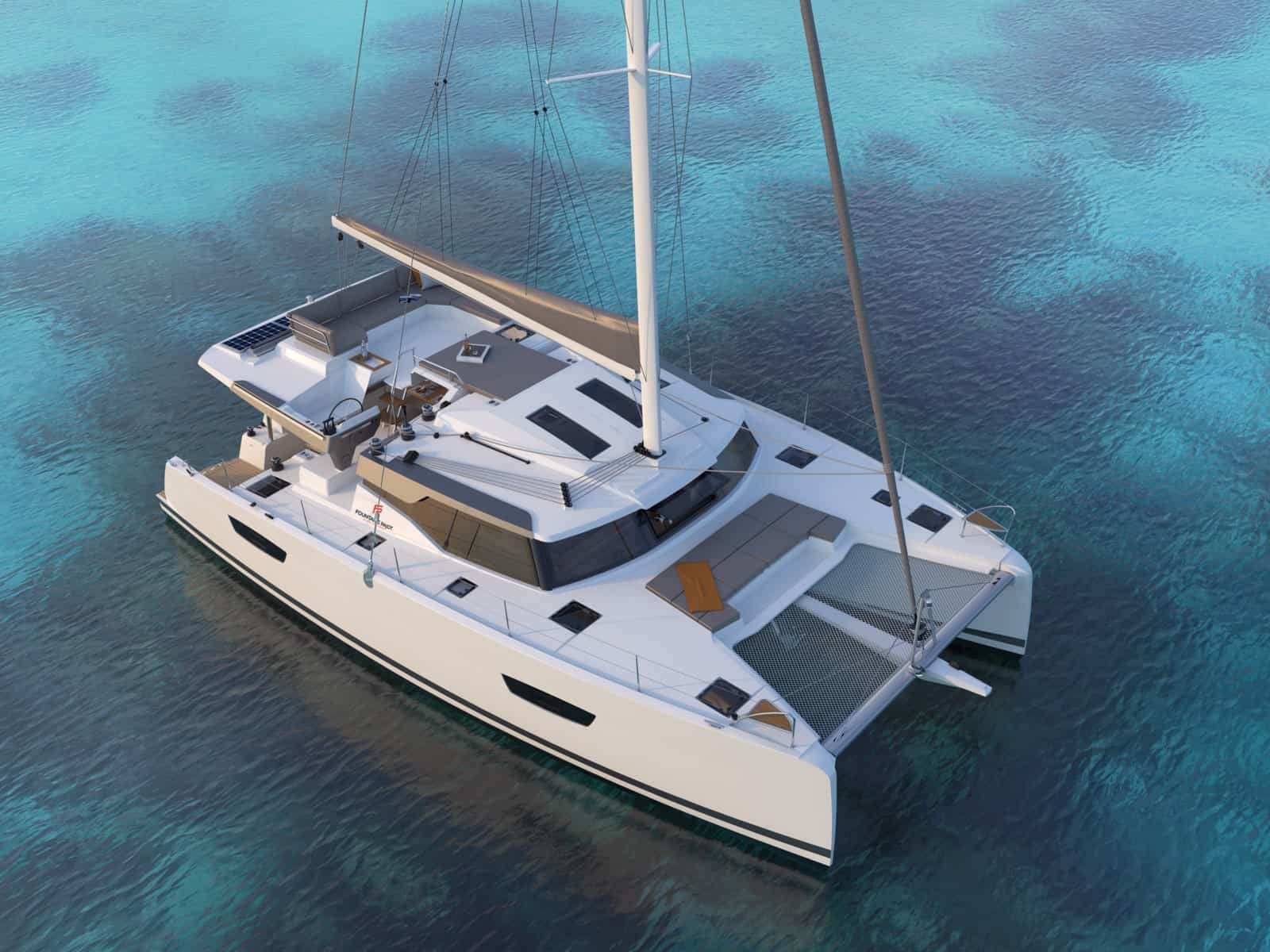 fountaine pajot 45 catamaran anchored