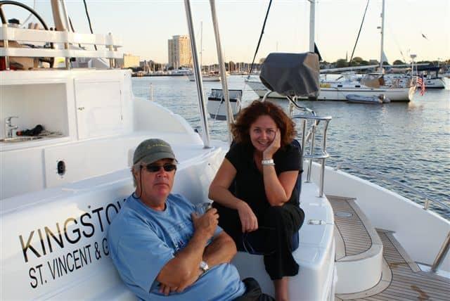 estelle and stephen cockcroft aboard a catamaran in chesapeake bay