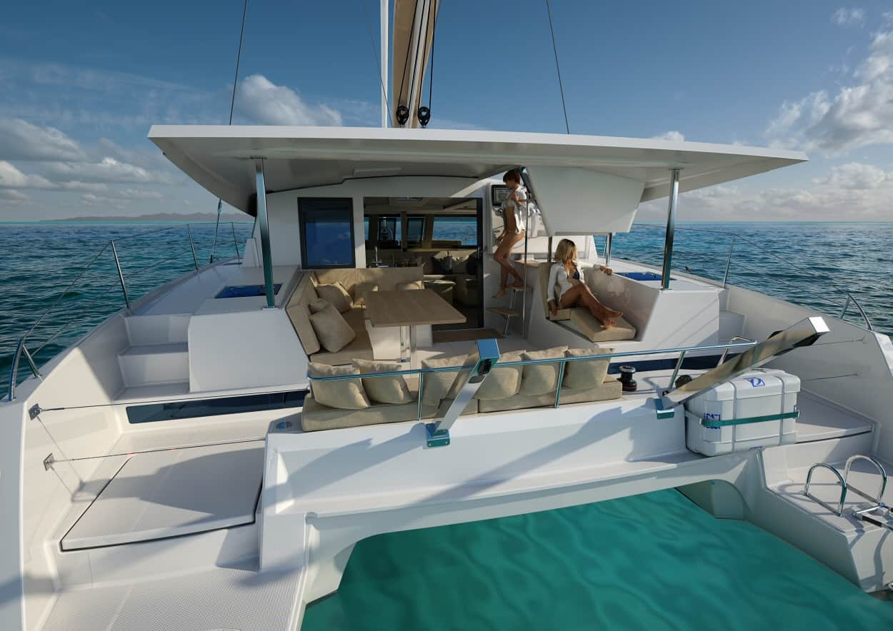 Fountaine pajot 40 catamaran stern view