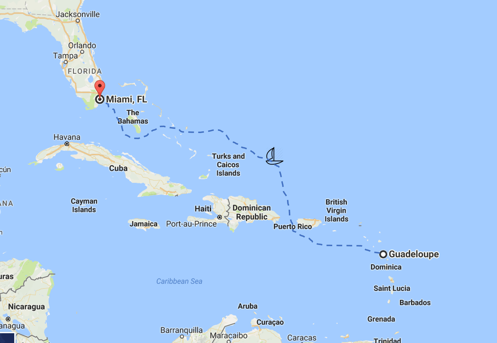 sailing guadeloupe to miami requires careful planning for internet and communications