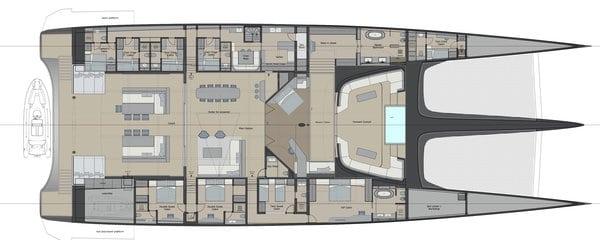 blackcat concept catamaran interior living space
