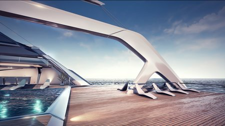 eco catamaran concept rear sundeck lounges