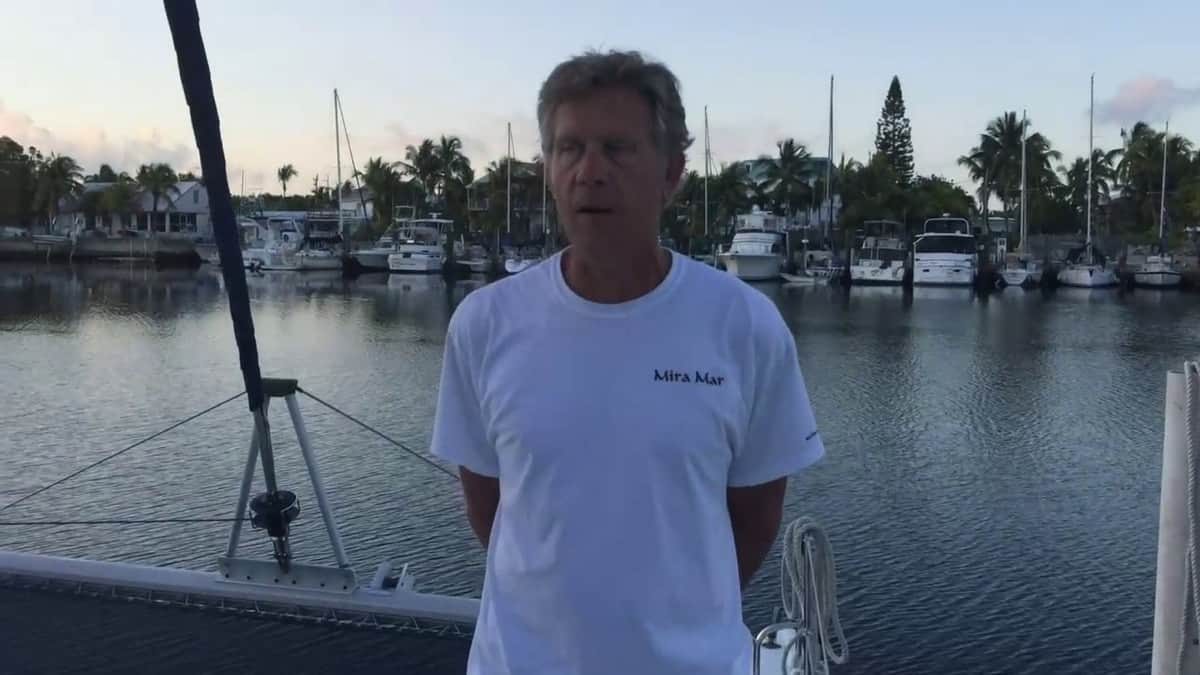 captain jeff riecks aboard mira mar while instructing in his sailing school for catamaran sailors and liveaboards