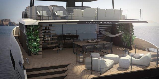 woodpecker boat concept catamaran picchio aft deck