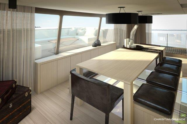 woodpecker boat concept catamaran picchio indoor dining room