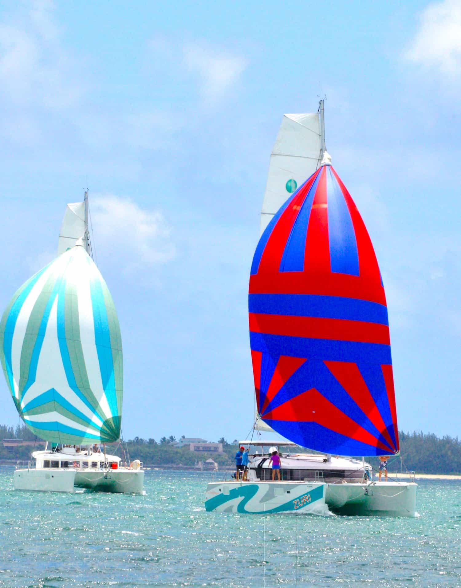 Lagoon 450 S names zuri sailing under spinnaker