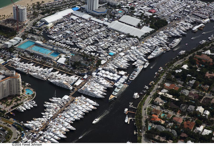 fort lauderdale boat show 2017 aerial