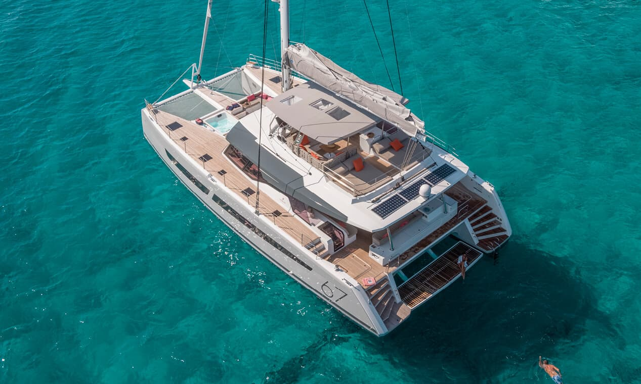 fp alegria 67 aft view above