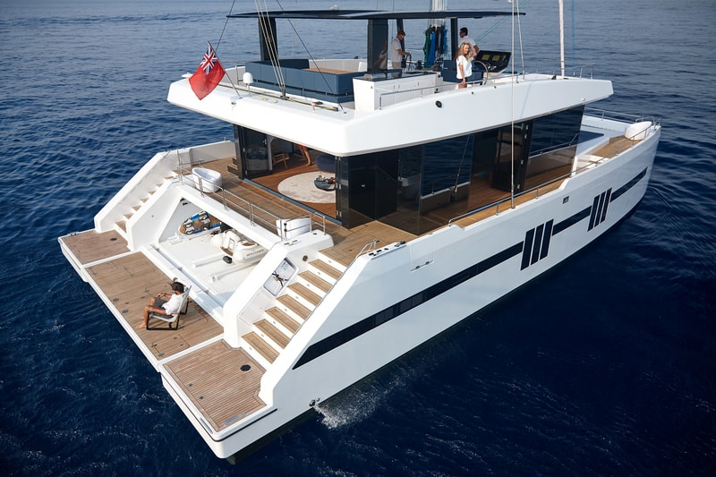 sunreef supreme 68 sailing aft