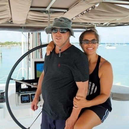 catamaran guru clients, toni and robert erdman, bought a yacht to liveaboard and run a yacht charter busienss