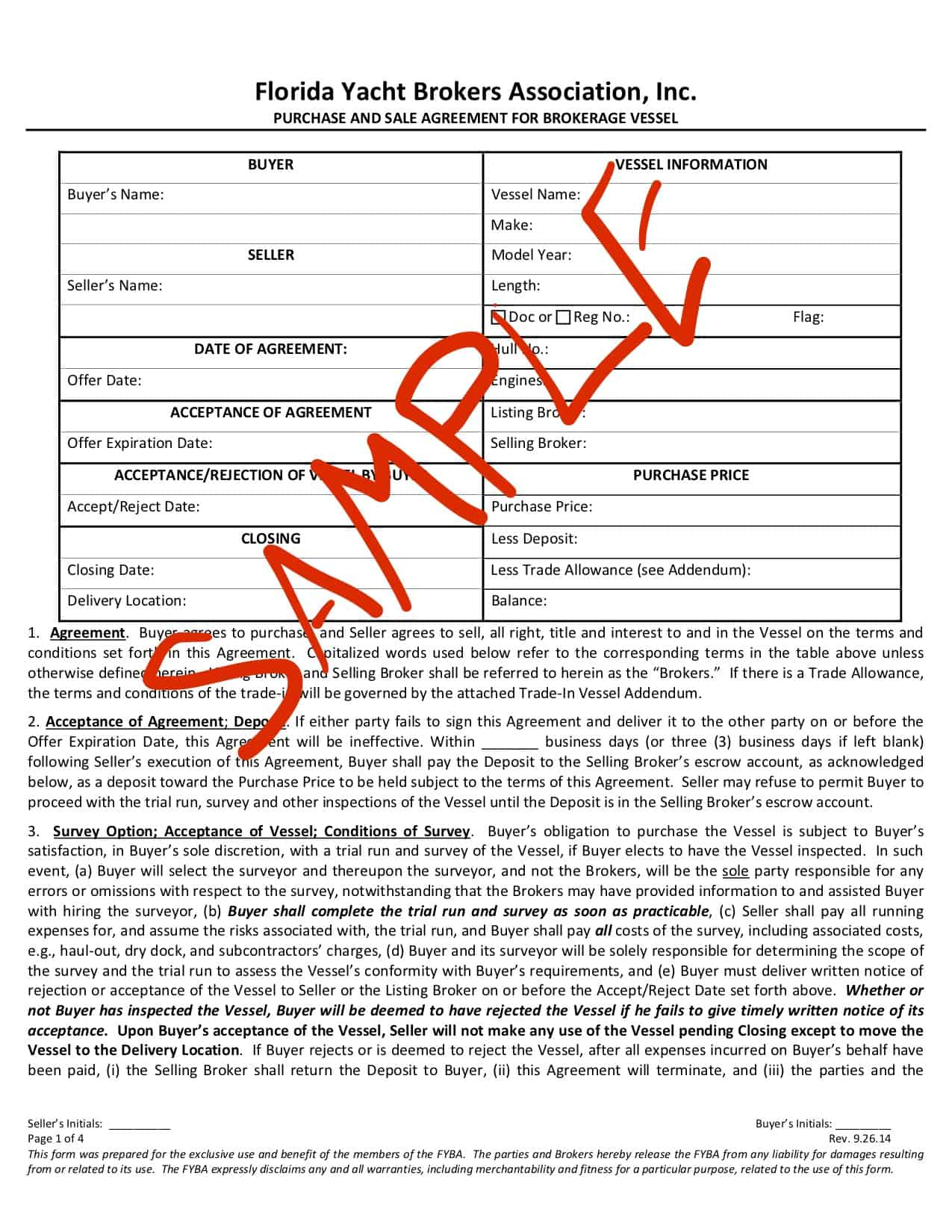 Yacht Purchase and sale documents