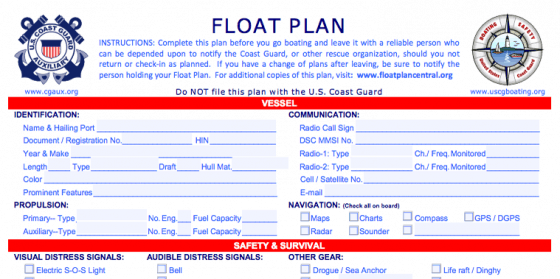 uscg formatted float plan for a boat trip