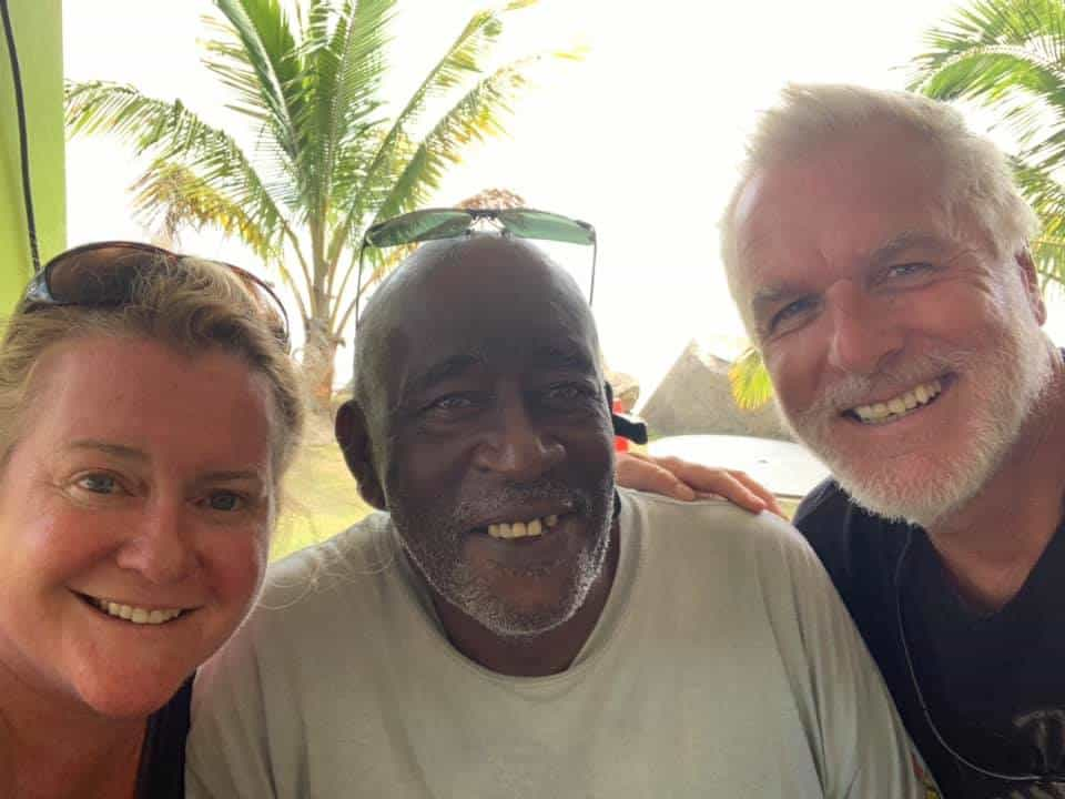david and dara knight met a new friend joe after sailing to montserrat aboard their india cat