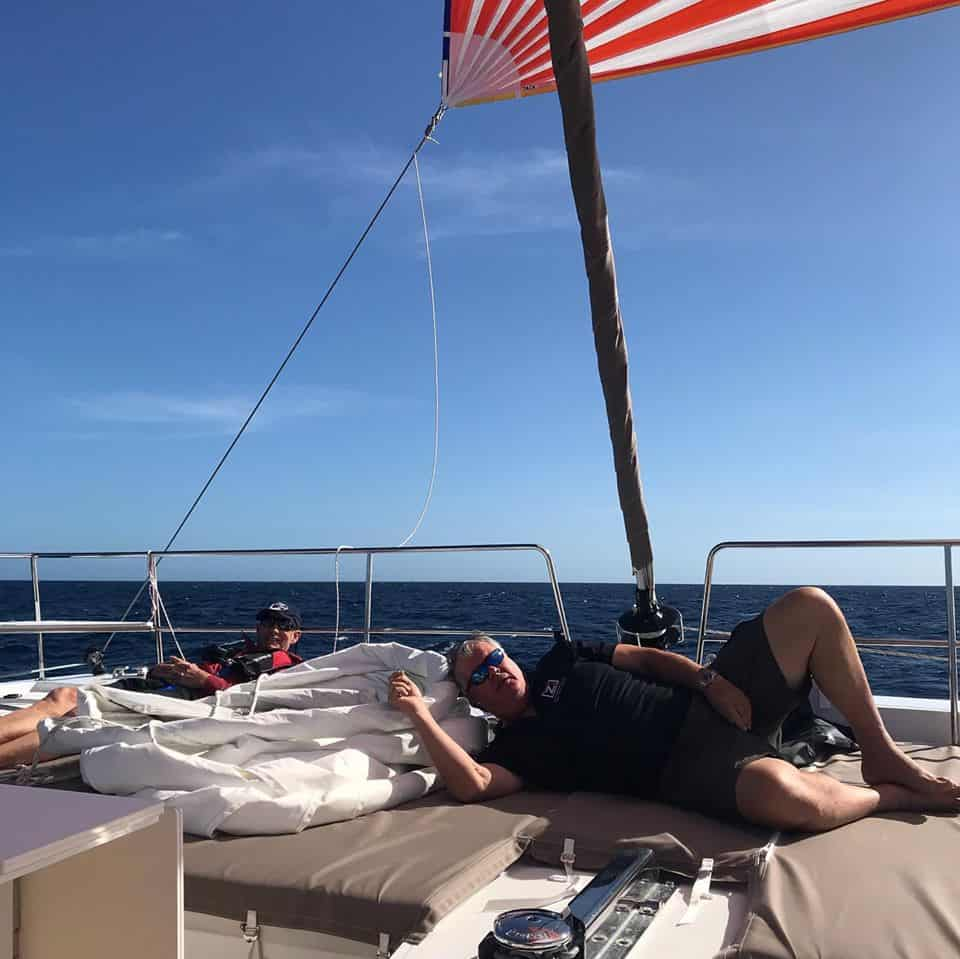 catamaran guru arc rally crusiers 2019 crew sunning