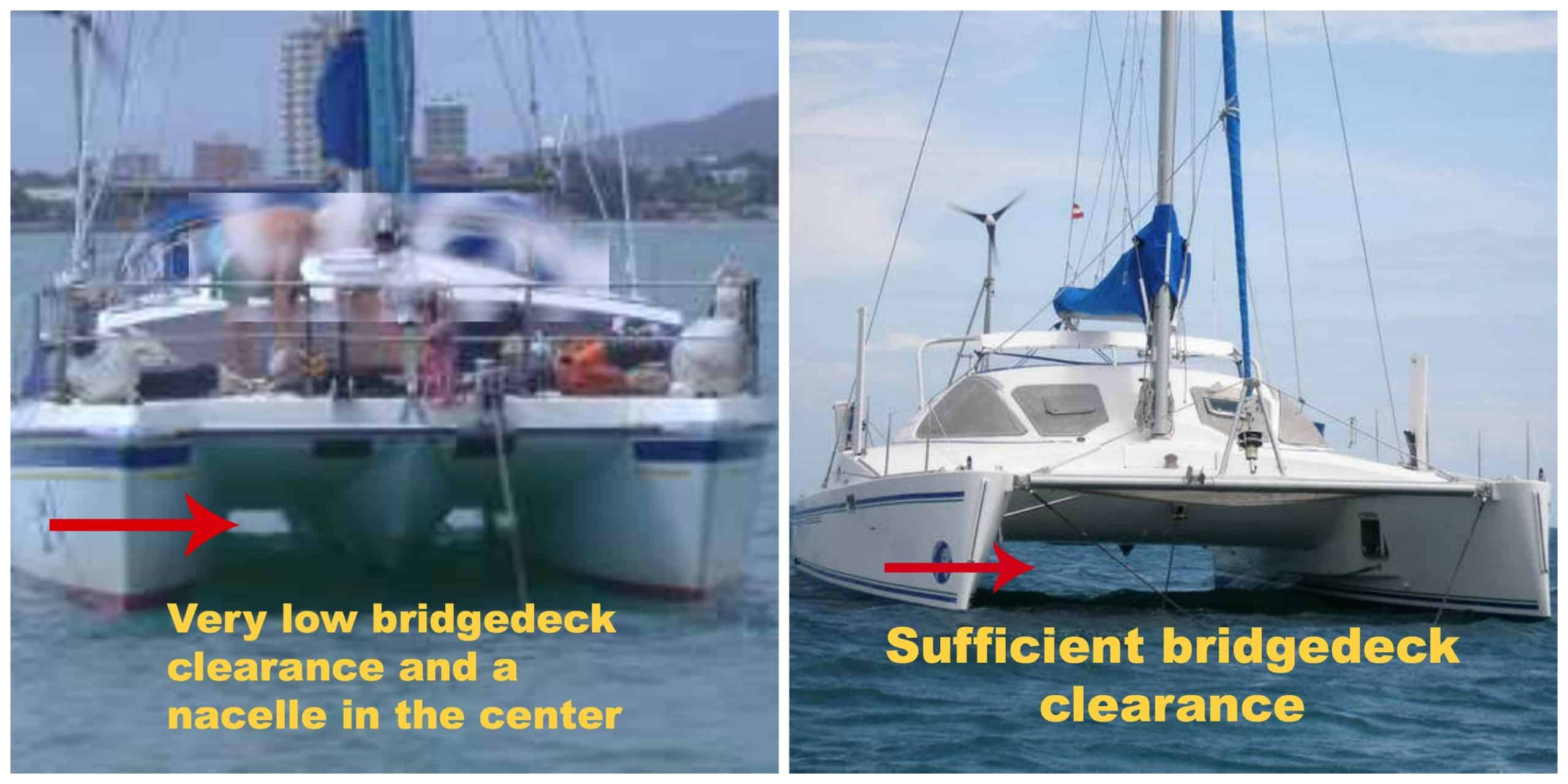 Catamaran Bridgedeck clearance comparisons of too low and well-proportioned catamarans