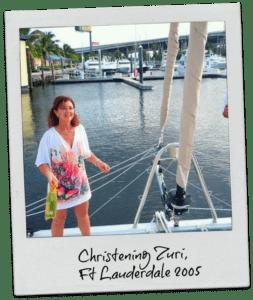 estelle cockcroft christening her catamaran zuri in fort lauderdale in 2005