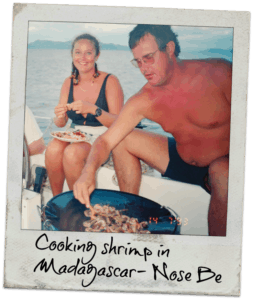 stephen and estelle cockcroft cooking shrimp aboard their sailboat in nose be madagascar