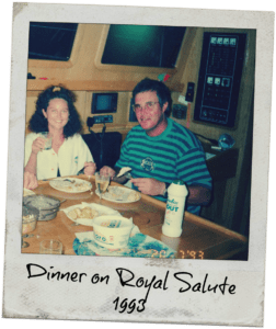 stephen and estelle cockcroft eating dinner aboard their sailboat royal salute